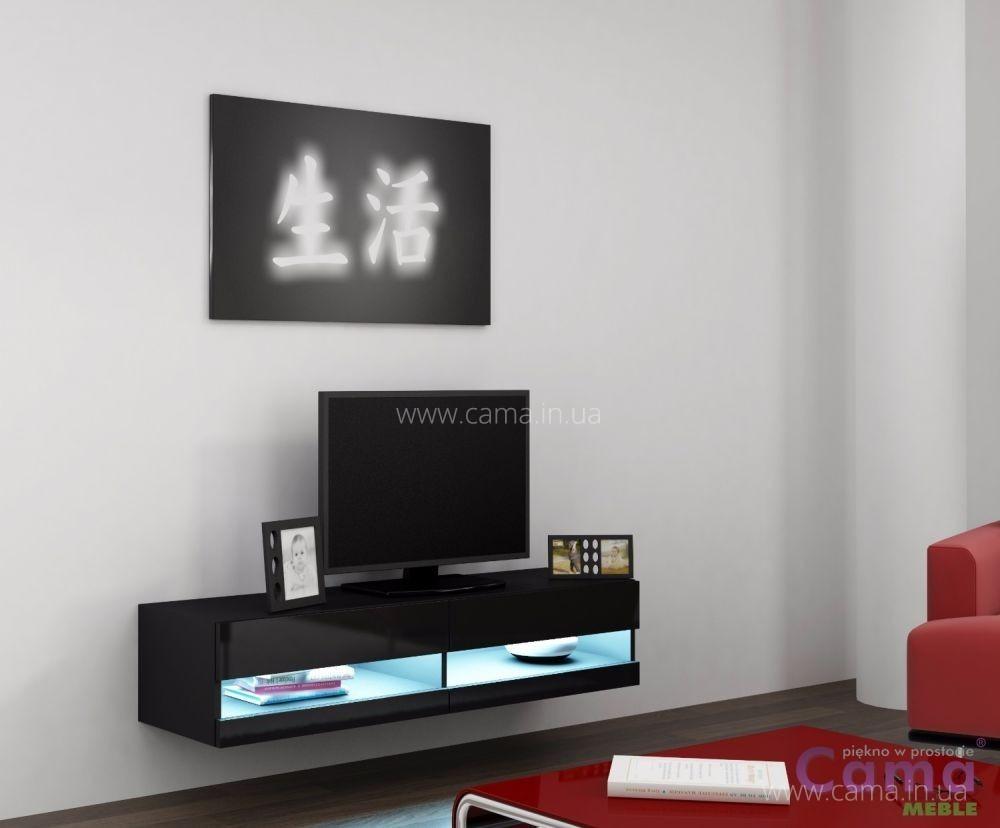 Комод открытый RTV Vigo 140 черный/черный глянец