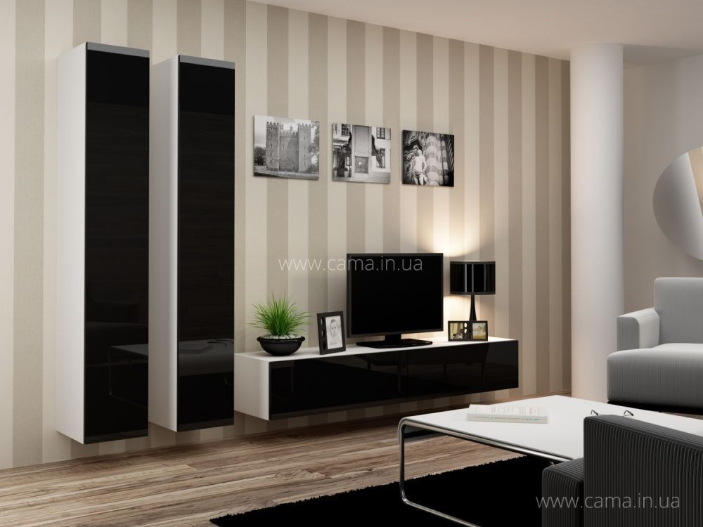 Гостиная Vigo 4 белый/черный глянец