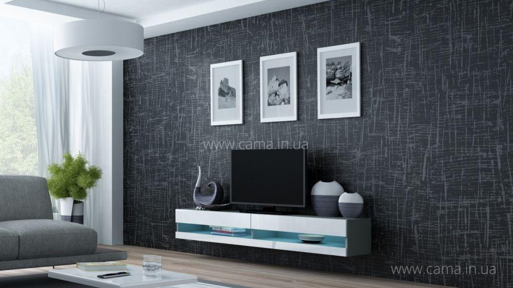 Комод открытый RTV Vigo 180 серый/белый глянец