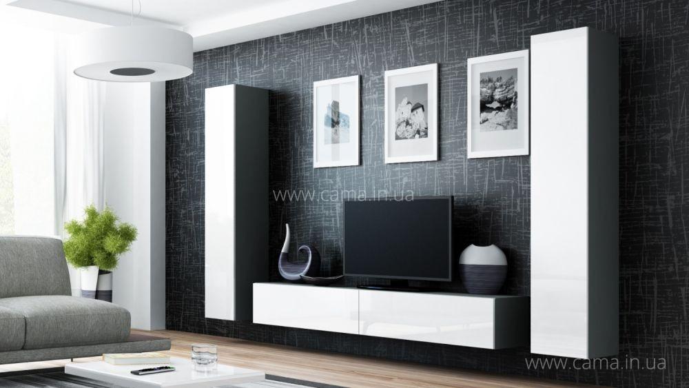Гостиная Vigo 4 серый/белый глянец