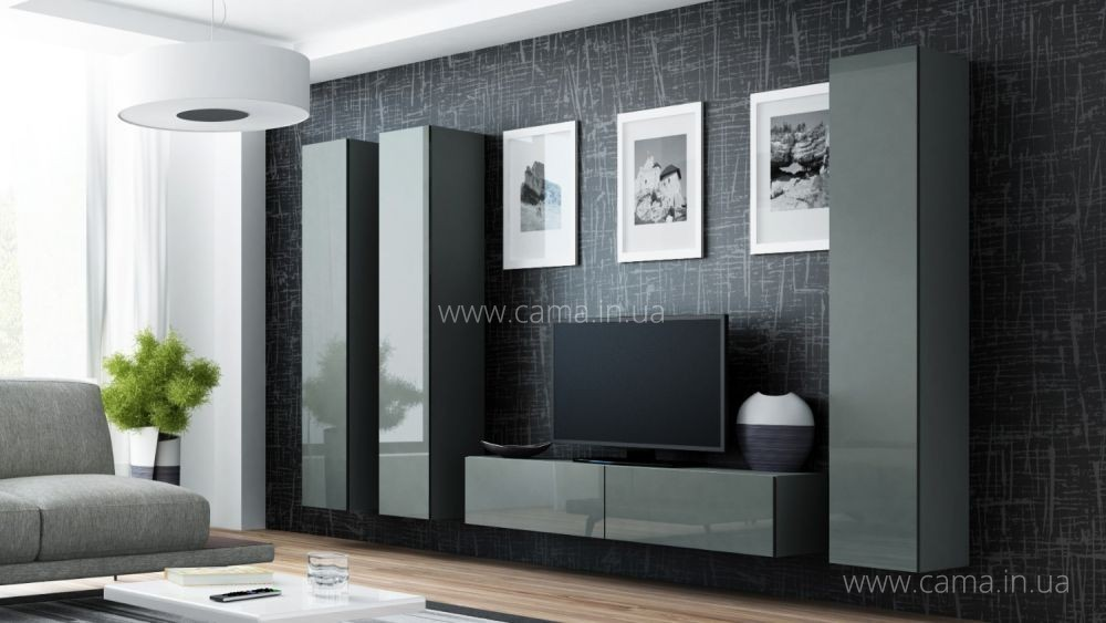 Гостиная Vigo 14 серый/серый глянец