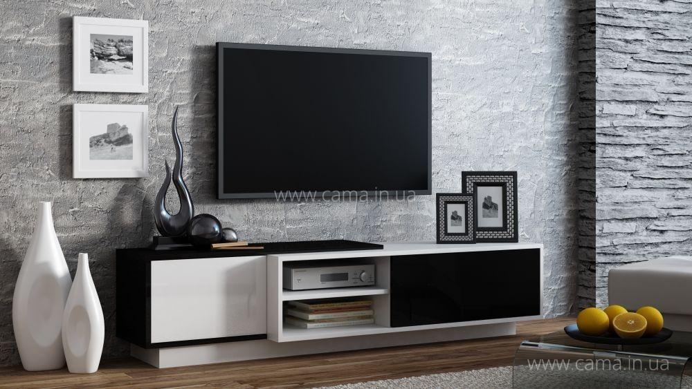 Комод ТВ Sigma 1A белый/черный глянец