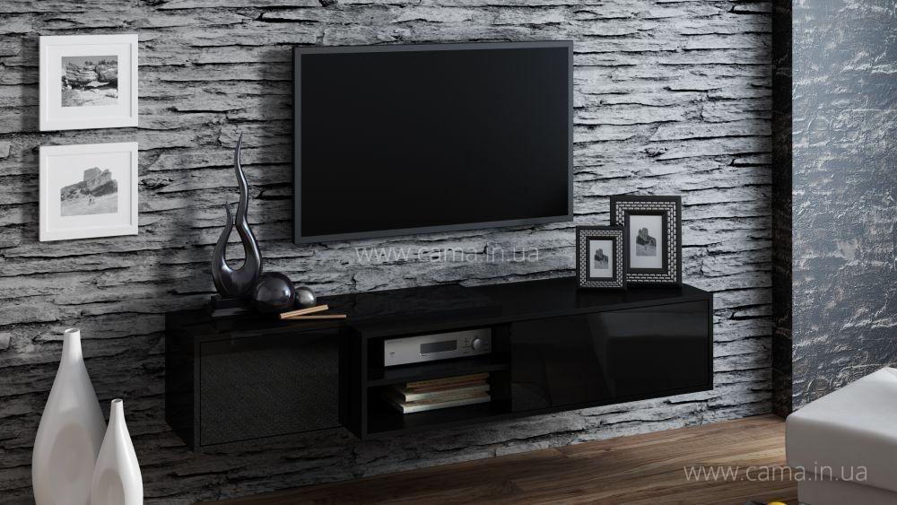Комод ТВ Sigma 1E черный/черный глянец