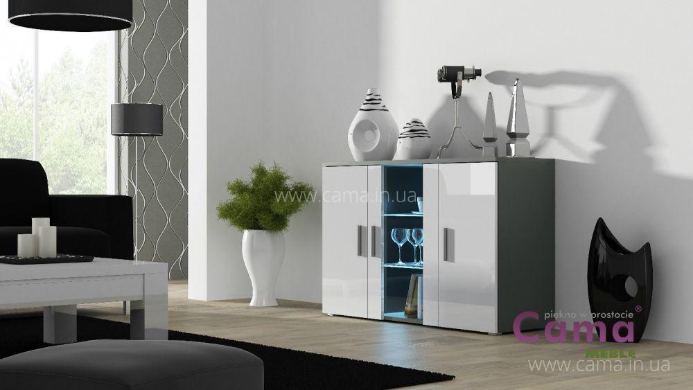 Комод Soho S7 серый/белый глянец