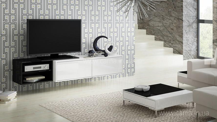 Комод ТВ Sigma 2 черный/белый глянец