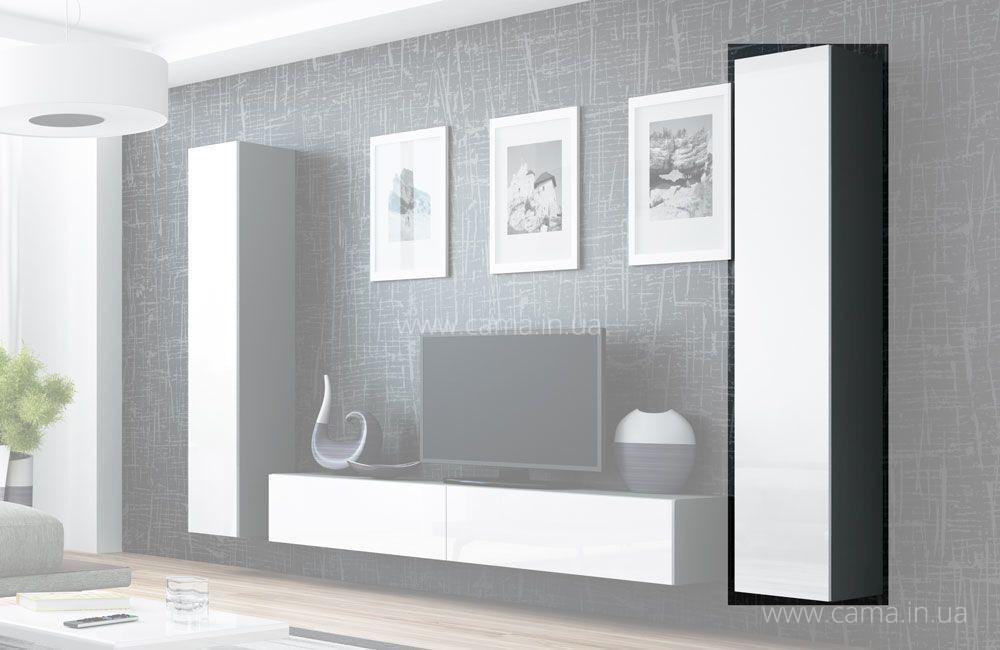 Пенал навесной Vigo 180 серый/белый глянец