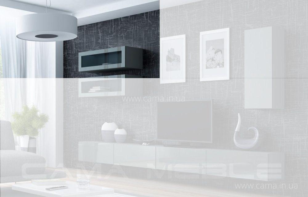 Витрина навесная Vigo 90 серый/серый глянец
